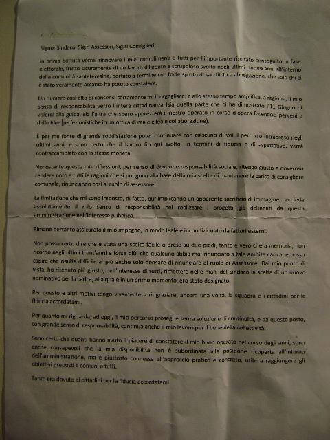 Discorso di Santino Veri alla cittadinanza santateresina.